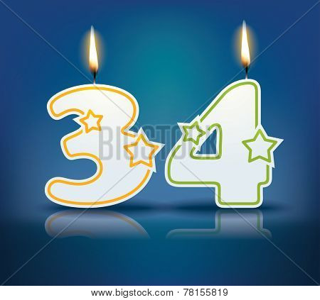 Birthday candle number 34 with flame - eps 10 vector illustration