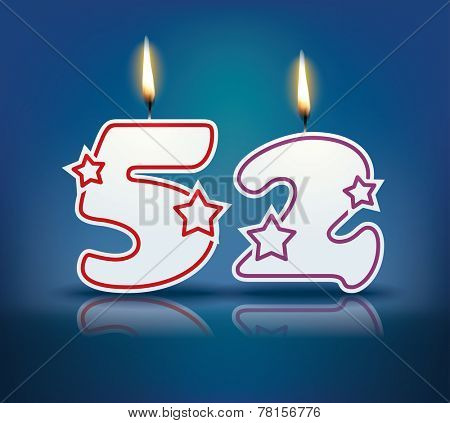 Birthday candle number 52 with flame - eps 10 vector illustration