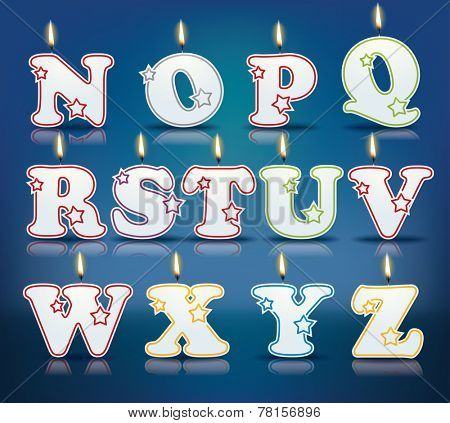 Candle letters from N to Z with flames - eps 10 vector illustration