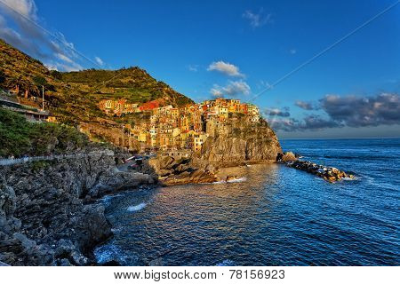 Picturesque view of Manarola Laguria Italy on a sunset