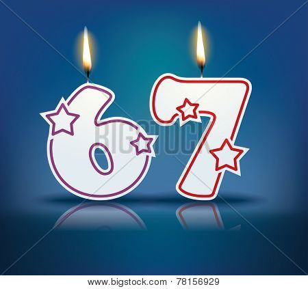 Birthday candle number 67 with flame - eps 10 vector illustration