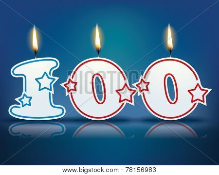 Birthday candle number 100 with flame - eps 10 vector illustration