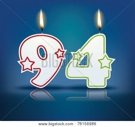 Birthday candle number 94 with flame - eps 10 vector illustration