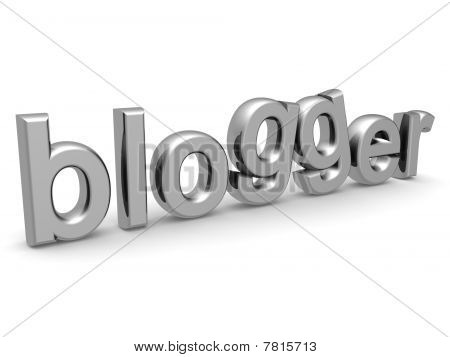 Silver Blogger Word Isolated White Background