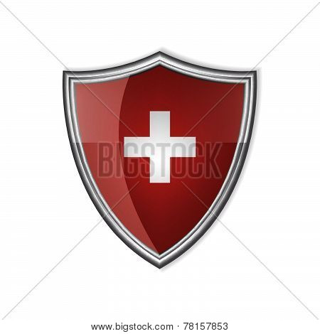 Swiss glossy label or badge on a white background