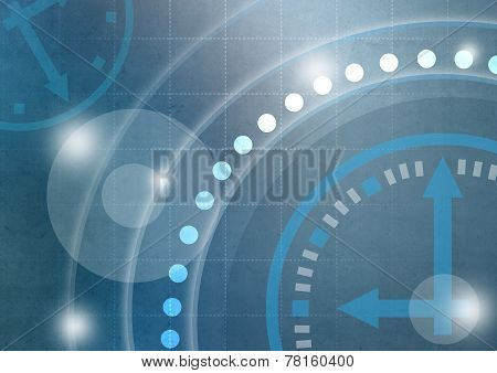 abstract background with clock and circles.