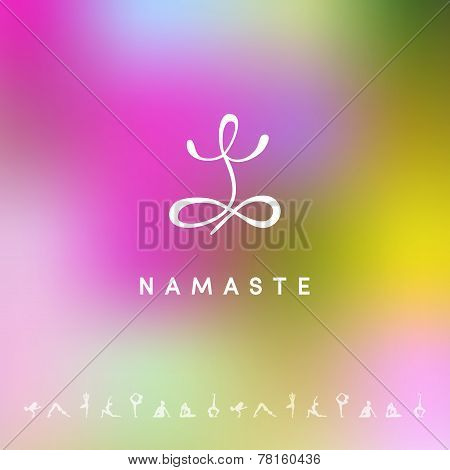 Blured Background With Yoga Logo