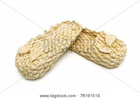 Russian Bast Shoes Isolated On White Background Close-up