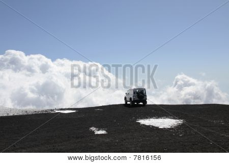 Off-road Vehicle On Mt Etna Volcano