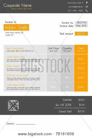 Invoice template - clean modern style of orange and grey