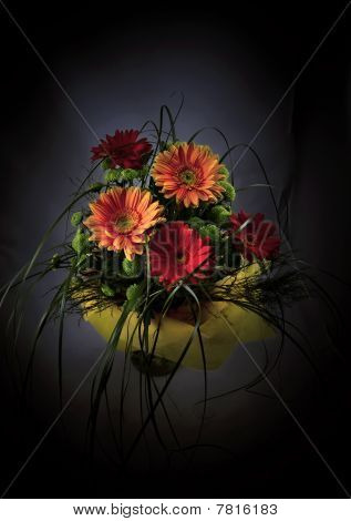 Bouquet from five gerberum and green branches