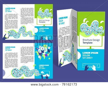 Brochure, Booklet Z-fold Layout. Editable Design Template. Two Sides. Eps10 Vector, Transparencies U