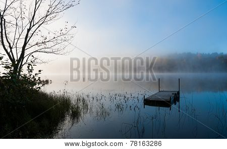 Fog on the lake early morning