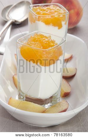 Peach Compote With Yogurt In A Shot Glass