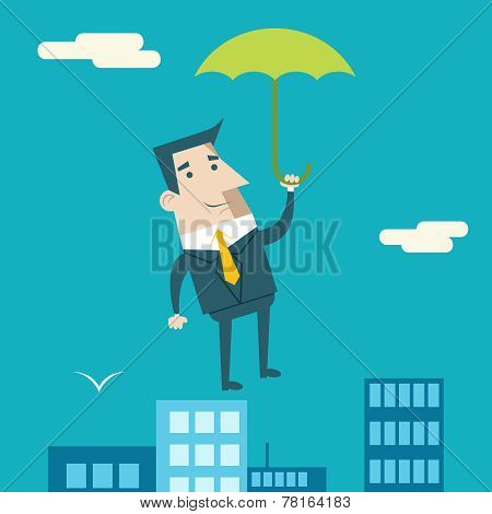 Businessman Cartoon Character with Umbrella Business and Marketing Security Insurance Plan Concept o