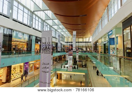 DUBAI - OCTOBER 15: The Dubai Mall interior on October 15, 2014 in Dubai, UAE. The Dubai Mall located in Dubai, it is part of the 20-billion-dollar Downtown Dubai complex, and includes 1,200 shops.