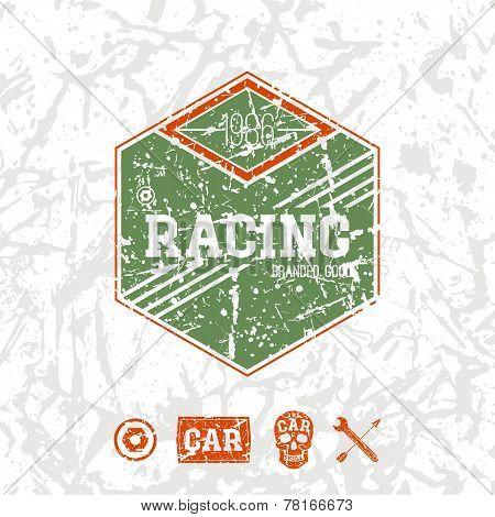 Car Racing Hexagonal Emblem