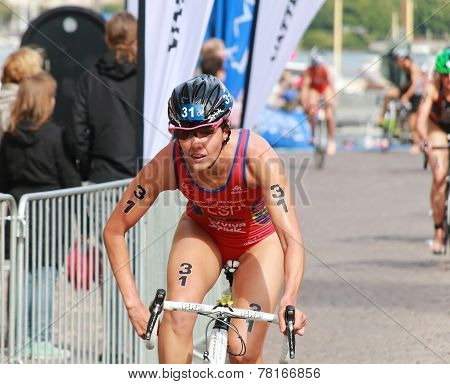 Carolina Routier (esp) Cycling In The Triathlon Event