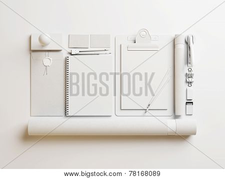 Set Of Blank Identity Elements On White Paper Background