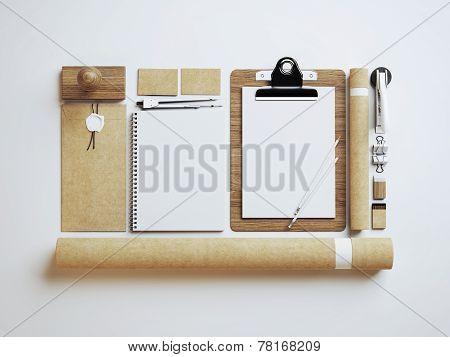 Set Of Craft Identity Elements On Light Paper Background
