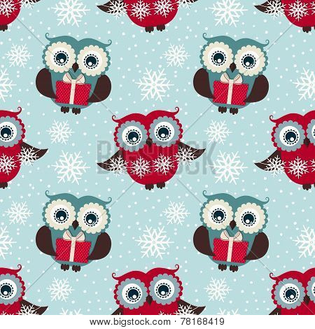 Happy Winter Holidays!  Seamless Pattern With Owls. Vector Background.