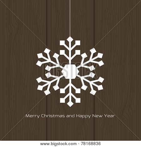 Vector White Christmas Snowflake On A Wood Background
