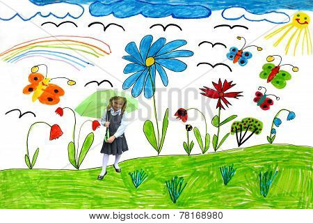 Children's Drawing With Butterflies And Flowers And A Girl