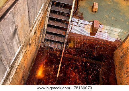 Polluted water in tank