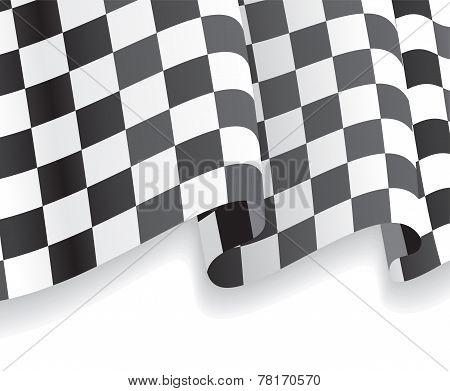 Background with waving racing Flag. Vector