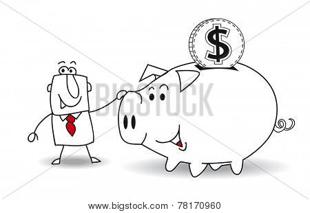 Piggy bank and dollar. This business man saves money in his Piggy bank . It's a metaphor. It's a good plan for the future