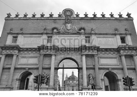 Porta Del Popolo City Gate In Rome