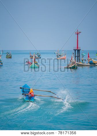 BALI - NOVEMBER 15: The harbour of Jimbaran village, Bali Indonesia November 15, 2014 in Bali, Indonesia.