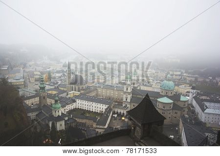 View Over Salzburg And Fog