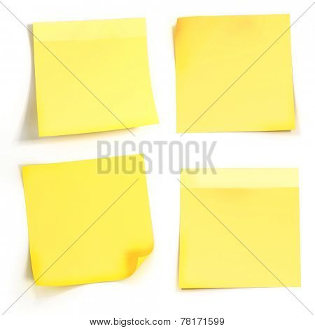 3d yellow sticky note on white background