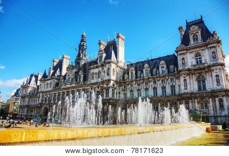 City Hall Building (hotel De Ville) In Paris, France