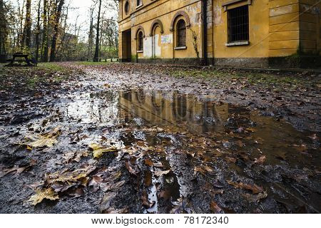 Abandoned Mill Reflected In A Puddle
