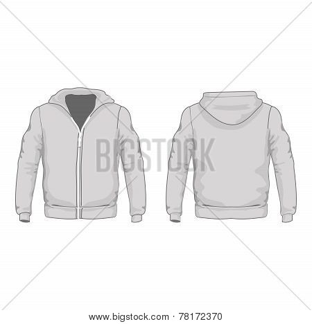 Men's hoodie shirts template. Front and back views.  illustration.