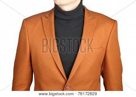 Brown Men's Blazer, Isolated On White Background.