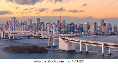 Tokyo Rainbow bridge and tokyo city view