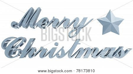Merry Christmas Greeting, Bluish 3D Letters And Star On White