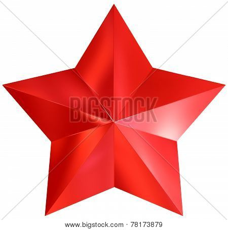 Christmas Star Red 3D Isolated
