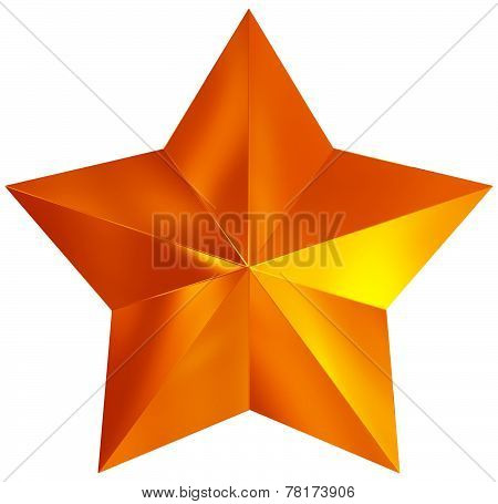 Christmas Star Orange 3D Isolated