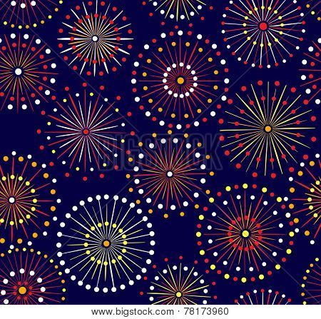 Japanese festival seamless night fireworks pattern