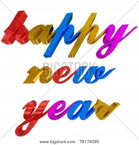 Happy New Year Greeting, Colorful 3D Letters On White