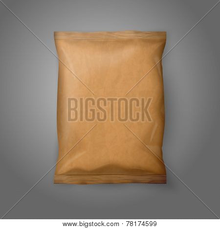 Blank realistic craft paper snack pack isolated on grey background with place for your design and br