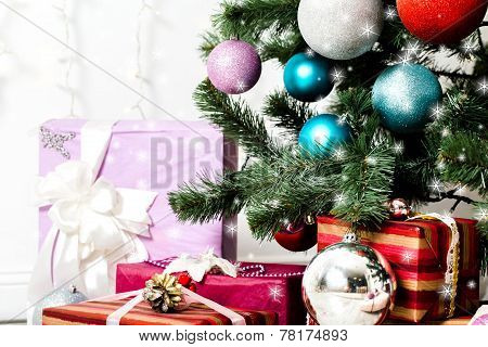 Christmas Tree With Gifts And Stars