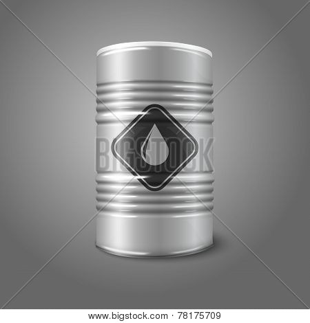 Vector realistic big oil barrel with sign, isolated on gray background.