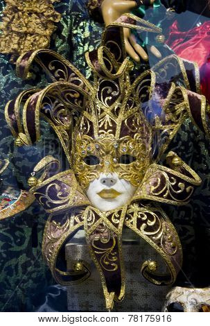 Typical colorful Venetian Carnival Mask