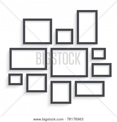 Vector Dark Blank Frames Collection on Wall with Transparent Realistic Shadow Effects