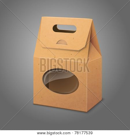 Blank realistic craft paper packaging bag with handle and transparent window. Vector